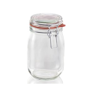 Leifheit 1140ml Glass Jars With Clip Top Fastening Seal