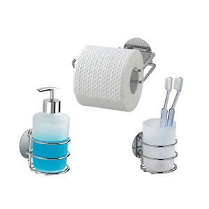 Wenko Turbo Loc Liquid Soap Dispenser Toilet Paper And Tooth Brush Holder