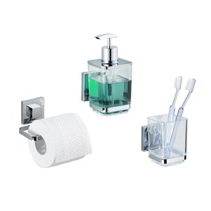 Wenko Vacuum Loc Quadro Soap  Dispenser Toilet Roll And Toothbrush Holder