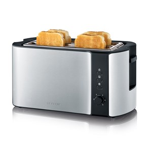 Severin AT2590 4 Slice Long Slot Stainless Steel Toaster 1400W