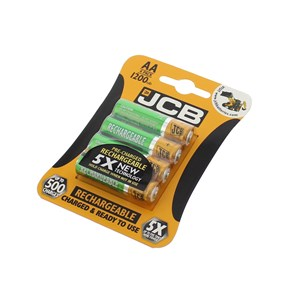 JCB Rechargeable AA 1300mAh Batteries 4 Pack